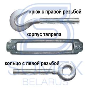 Схема талрепа крюк-кольцо DIN 1480