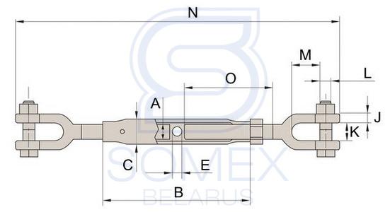 Чертеж талрепа вилочного DIN 1478 с закрытым корпусом