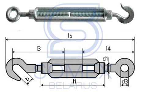 Чертеж талрепа крюк-кольцо DIN 1480