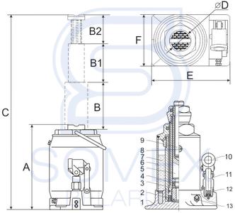 Домкрат ДГ-16 двухплунжерный чертеж