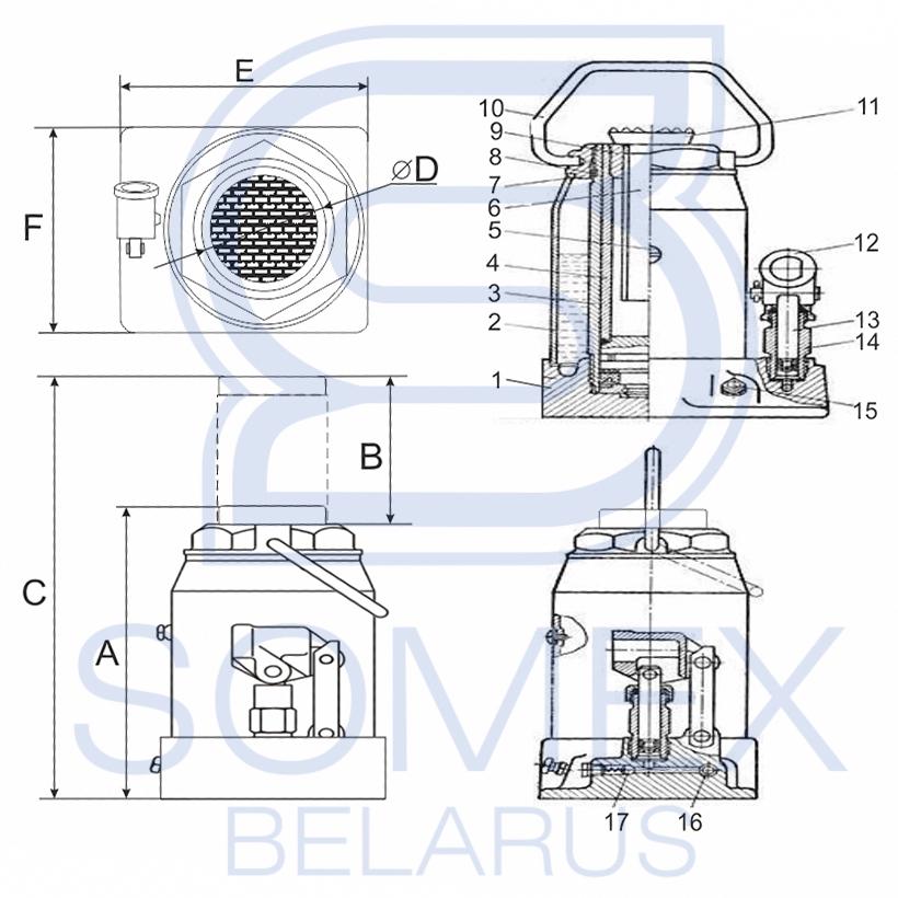 Домкрат HJ-B50 50т чертеж