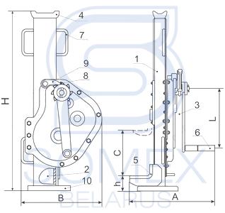 Схема реечного домкрата ДР-20