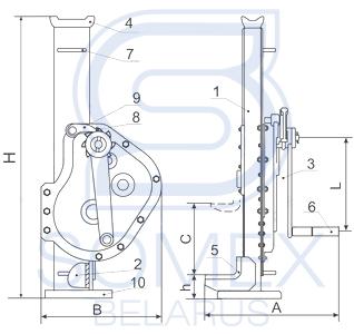 Схема реечного домкрата ДР-8М