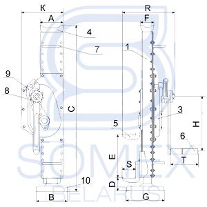 Схема реечного домкрата SJ-20