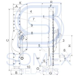 Схема реечного домкрата SJ-3