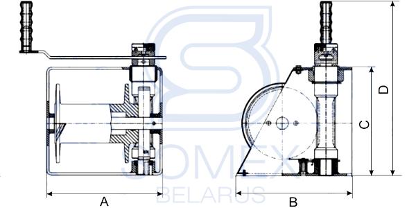 Чертеж лебедки HW-1000B (VS 1000)