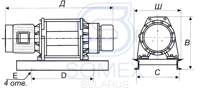 Чертеж лебедки KDJ-1000E1