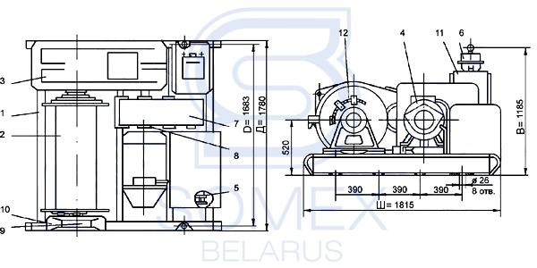 Чертеж лебедки ТЛ-7А 380В