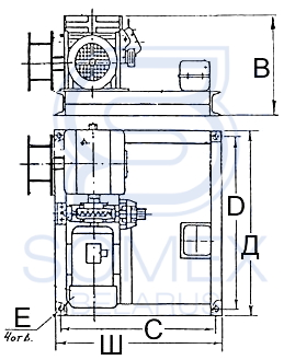 Чертеж лебедки ТЛЧ-14Б 380В